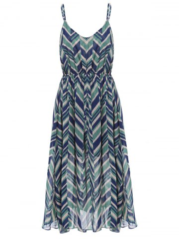 Stylish Spaghetti Strap Zig Zag Print Sundress