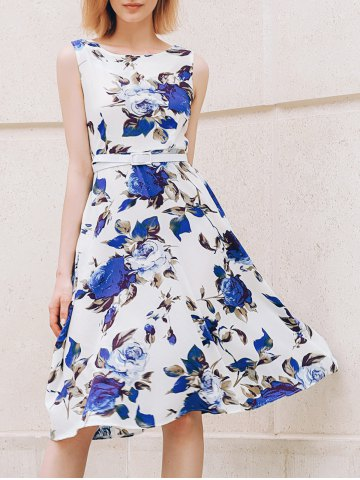 Fashion Chic Round Collar Sleeveless Floral Print Slimming Women's Dress