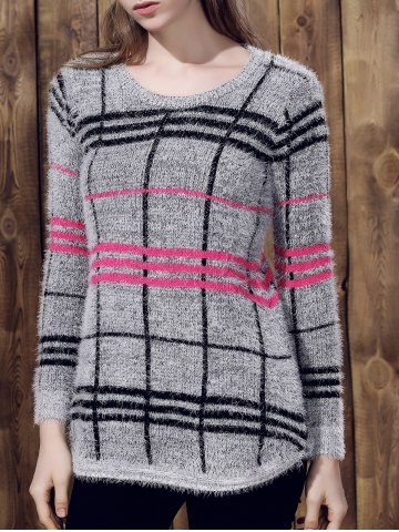 Unique Attractive Round Collar Irregular Plaid Printed Pullover Mohair Sweater For Women GRAY ONE SIZE(FIT SIZE XS TO M)