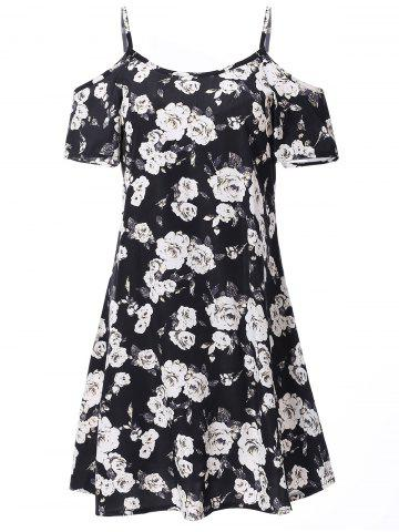 Trendy Fashionable Spaghetti Strap Short Sleeve Floral Print Women's Dress