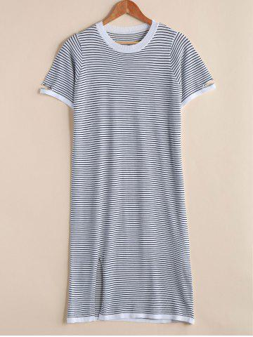 Unique Trendy Round Neck Short Sleeve Broken Hole Striped Women's Dress
