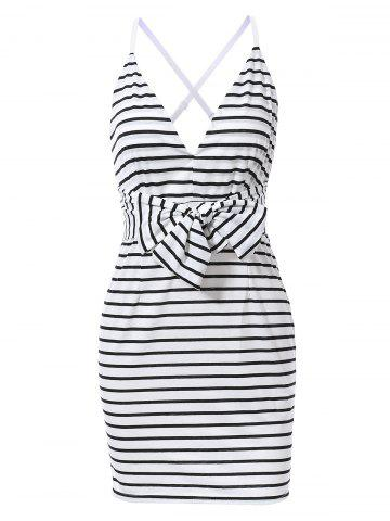 Outfit Chic Spaghetti Strap Criss-Cross Striped Backless Skinny Women's Dress