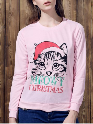 Store Cute Round Neck Long Sleeve Cat Print Women's Christmas Sweatshirt PINK S