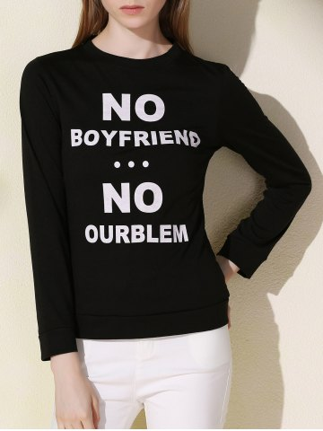 Affordable Casual Long Sleeve Letter Printed Pullover Sweatshirt For Women BLACK L