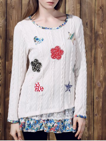 Chic Casual Jewel Neck Long Sleeves Applique Sweater For Women OFF WHITE XL