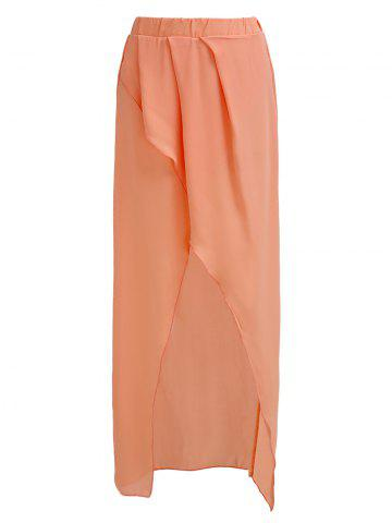 Affordable Trendy High-Waisted Asymmetrical Solid Color Chiffon Women's Skirt