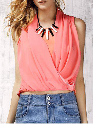 Sale Trendy V-Neck Chiffon Spliced Solid Color Women's Tank Top