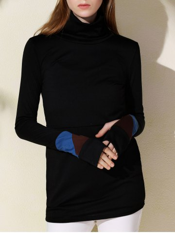 Outfits Fashionable Turtleneck Long Sleeve Sheathy Pullover Sweatshirt For Women BLACK S