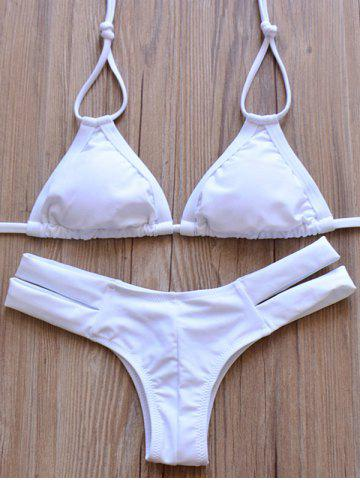Shops Elegant Halter Solid Color Hollow Out Bikini Set For Women WHITE S