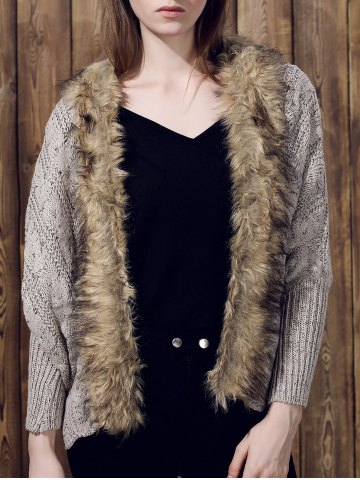 Buy Casual Faux Fur Spliced Long Sleeve Knitted Thick Cardigan For Women KHAKI ONE SIZE(FIT SIZE XS TO M)
