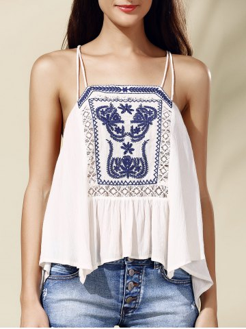 Shop Ethnic Style Spaghetti Strap Embroidered High Low Women's Tank Top