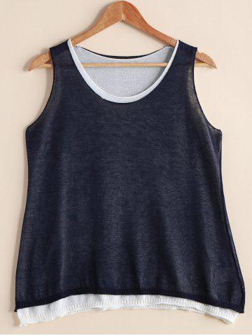Unique Stylish Scoop Neck Faux Twinset Loose-Fitting Women's Tank Top