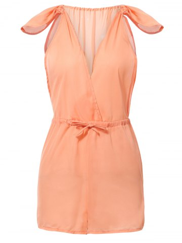 Outfits Trendy Plunging Neck Cap Sleeves High Waist Romper For Women ORANGE XL