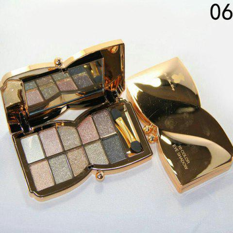 Discount Stylish 10 Colours Sparkly Diamond Eye Shadow Palette with Mirror and Brush