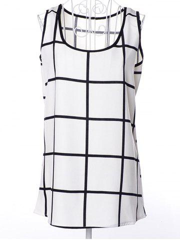 Online Scoop Neck Plaid Chiffon tank top CHECKED S