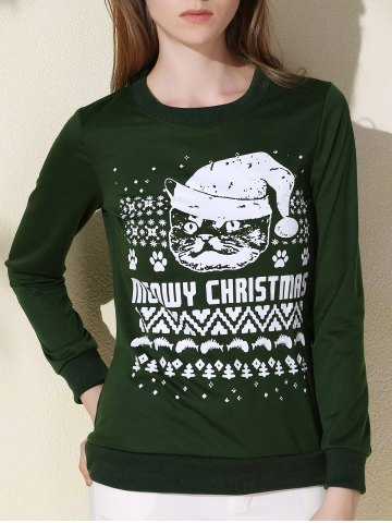 Affordable Fashionable Round Collar Letter and Cat Printed Pullover Christmas Sweatshirt For Women GREEN L