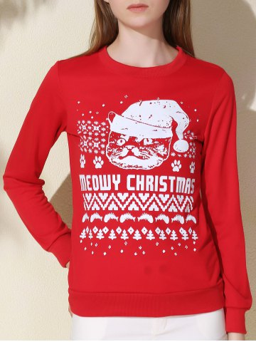 Fashionable Round Collar Letter and Cat Printed Pullover Christmas Sweatshirt For Women