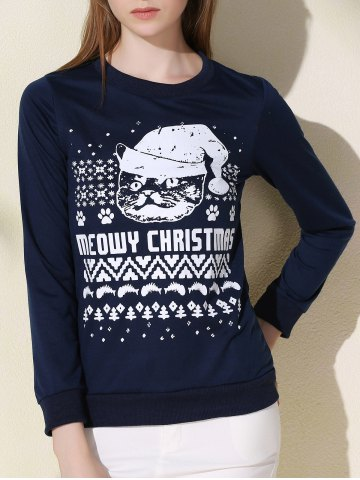 Fancy Fashionable Round Collar Letter and Cat Printed Pullover Christmas Sweatshirt For Women