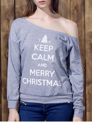 Unique Chic One-Shoulder Long Sleeve Letter Print Women's Christmas Sweatshirt GRAY M