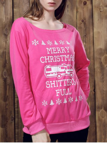 Fashionable Skew Neck Long Sleeve Letter Pattern Christmas Sweatshirt For Women