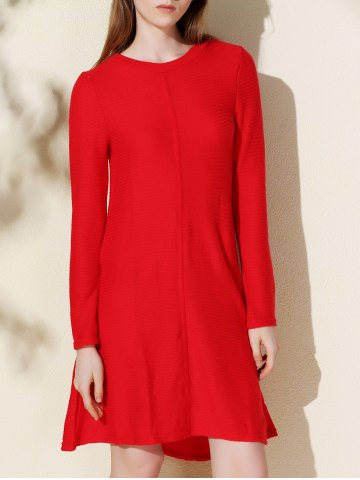 Outfit Casual Long Sleeve Jersey Swing Dress RED S