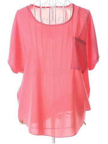 Sale Casual Plus Size Scoop Neck See-Through Short Sleeves Blouse For Women