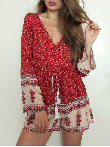 Plunging Neck Long Sleeve Printed Drawstring Romper