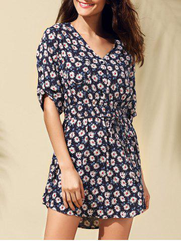 Trendy Fashionable Floral Print Tie Belt Dress For Women