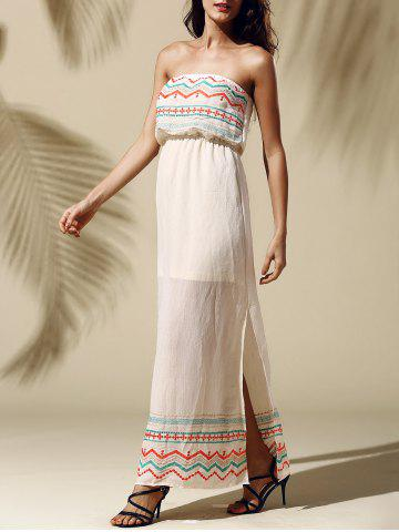 Affordable Printed Slit Strapless Maxi Dress YELLOWISH PINK S