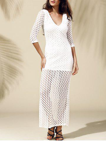 Fancy Slit Fitted Long Tight Maxi Crochet Dress WHITE M