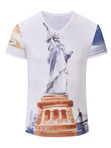 Hot Statue of Liberty Printed V Neck Tee WHITE S