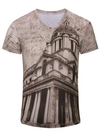Buy Men's Trendy 3D Building Printed Short Sleeves T-Shirt CAMEL S