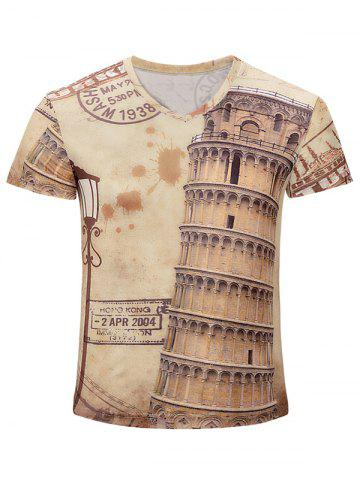Buy Leaning Tower of Pisa Printed V Neck Tee