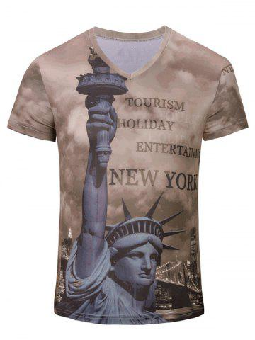 New 3D Statue of Liberty Printed V Neck Tee DEEP BROWN S