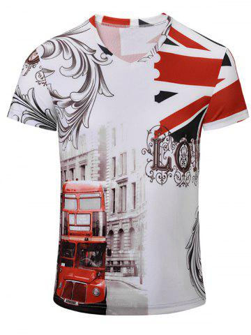Online Bus Printed Short Sleeves V Neck Tee WHITE S