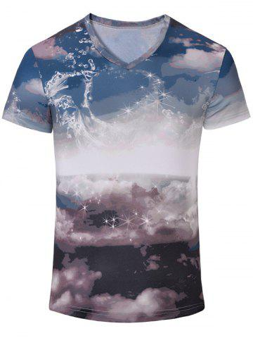 Shops Casual Printed Short Sleeves T-Shirt For Men COLORMIX S
