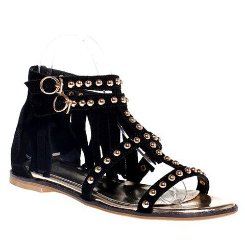 Fashion Trendy Suede and Fringe Design Sandals For Women
