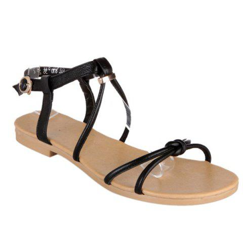 Fancy Leisure Solid Colour and Flat Heel Design Sandals For Women