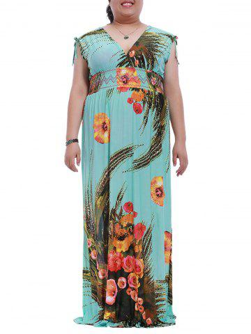 Plus Size Sleeveless Empire Waist Print Maxi Dress - Lake Blue - 2xl