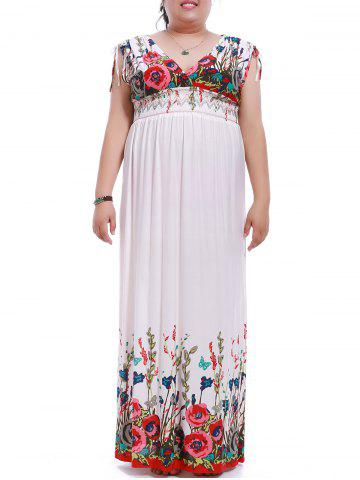 Fancy Bohemian Style Plus Size Plunging Neck Sleeveless Flower Print Dress For Women