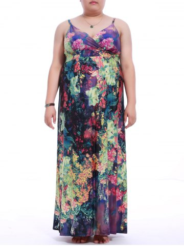 Plus Size Plunging Neck Spaghetti Strap Print Dress