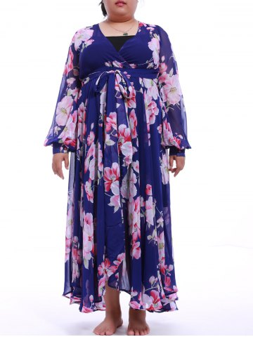 Online Plus Size Flower Print Chiffon Maxi Dress