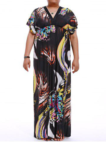 Cheap Plus Size V-Neck Print Maxi Dress BLACK M