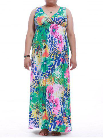 Outfit Plus Size Sleeveless Flower Print Maxi Dress COLORMIX XL