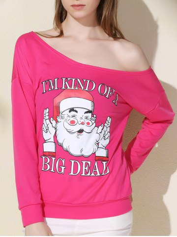 Outfits Chic One-Shoulder Long Sleeve Santa Claus Print Women's Christmas Sweatshirt ROSE XL