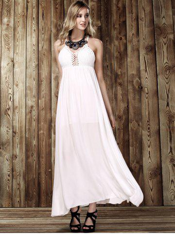 Outfits Maxi Criss Backless Flowy Semi Formal Wedding Dress - M WHITE Mobile