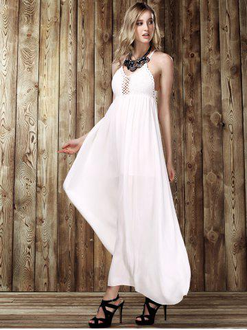 Store Maxi Criss Backless Flowy Semi Formal Wedding Dress - M WHITE Mobile