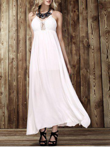 Discount Maxi Criss Backless Flowy Semi Formal Wedding Dress - M WHITE Mobile