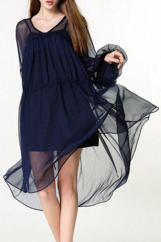 Cheap V-Neck Lantern Sleeve Voluminous Dress