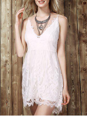 Fancy Low Cut Lace Romper WHITE XL